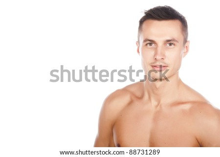 sexy tanned young guy with a bare-chested,close-up,isolated over white
