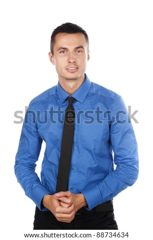 Blue dress shirt with a black tie