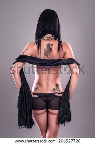 Sexy Tattoo Girl - stock photo