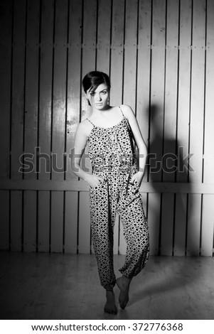 Sexy top model posing, studio shot  - stock photo