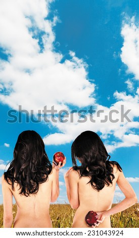 Sexy twins with bare backs holding apples. Blue skies field background added (author's picture). Work path. - stock photo