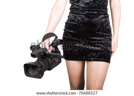 Sexy videographer - stock photo