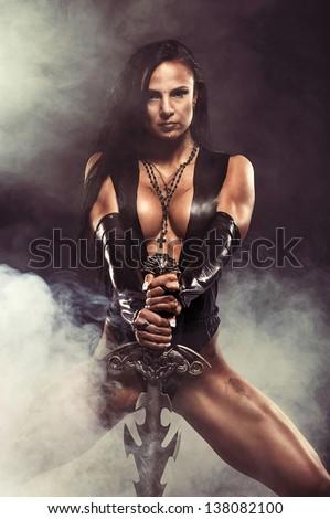 Sexy Warrior Woman - stock photo