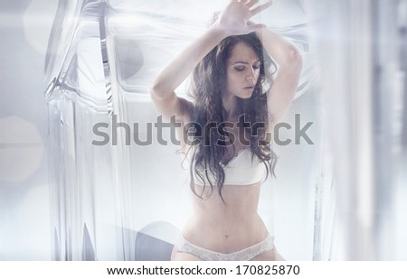 Sexy woman addicted to shoes - stock photo