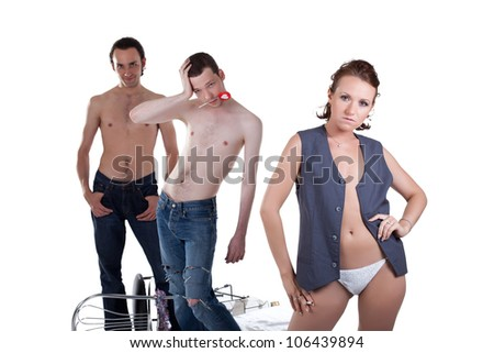 Sexy woman and two men