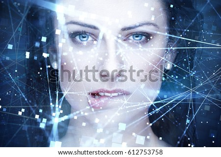 Sexy woman artificial intelligence with connections bite lips portrait