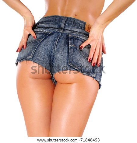 sexy woman body in jean shorts - stock photo