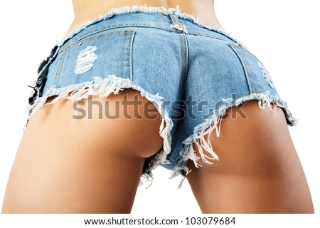 Sexy woman body in jean shorts. The model is back. Great ass. - stock photo