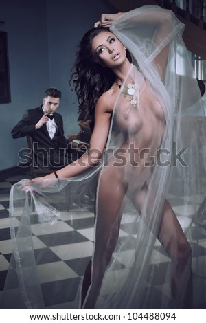 Sexy woman dancing to the piano music - stock photo