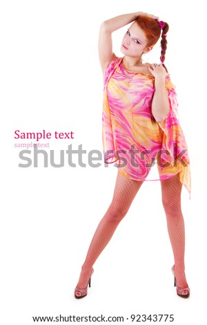 Sexy woman full-length isolated on white - stock photo