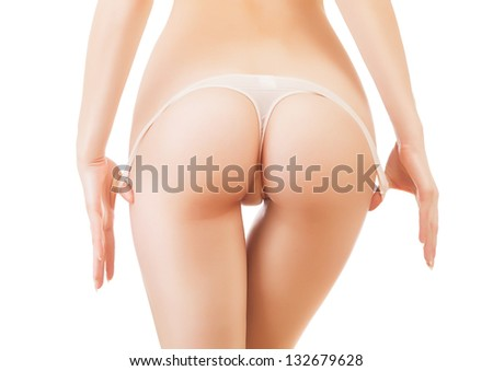 sexy woman hips in panties on white background - stock photo