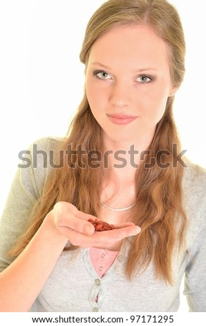 sexy woman holding goji berries - stock photo