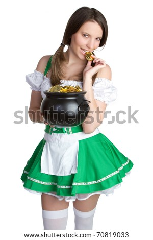 Sexy woman holding pot of gold