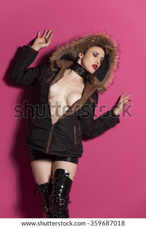 sexy woman in a winter coat  - stock photo