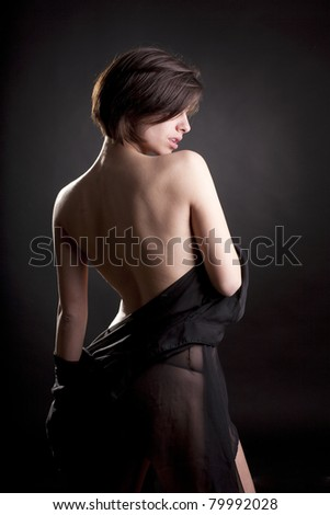 Sexy woman in black lingerie. - stock photo