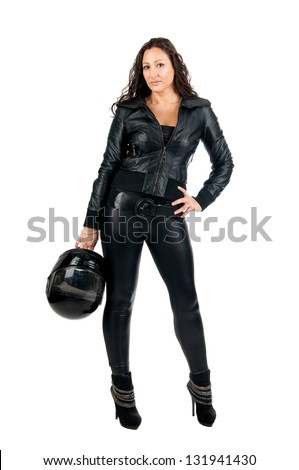 Sexy woman in black with motorcycle helmet - stock photo