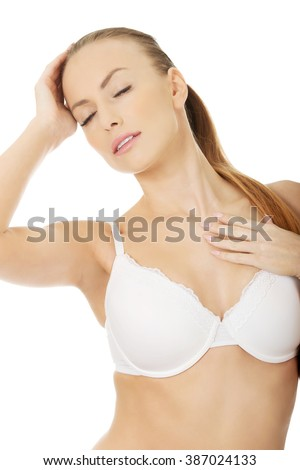 Sexy woman in bra.