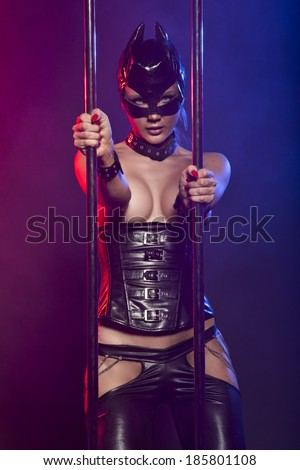 Sexy woman in latex suit  - stock photo