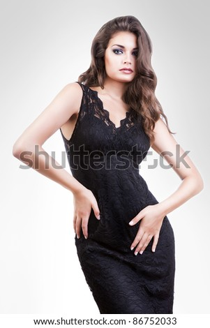 sexy woman in long black dress