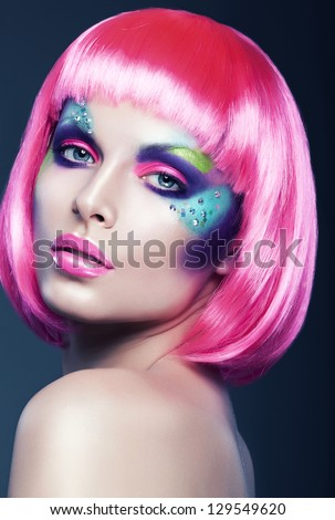 sexy woman in pink wig - stock photo