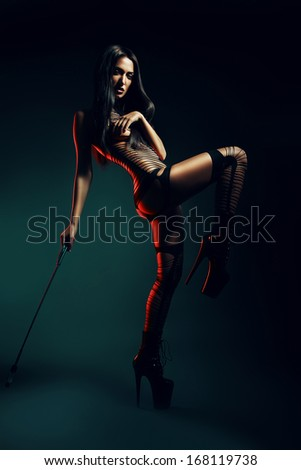 sexy woman in striped wear with whip - stock photo