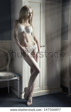 Sexy woman in underwear - streaks of light