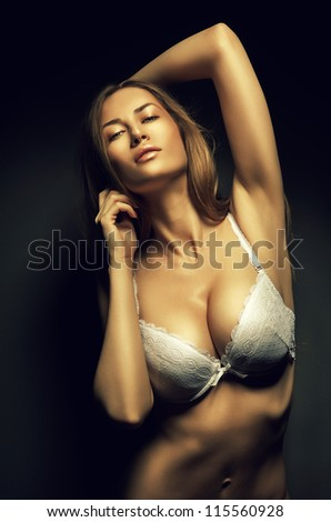 sexy woman in white bra - stock photo