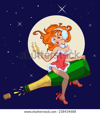 Sexy woman is flying on a bottle of champagne - stock photo