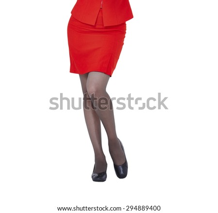 Sexy woman legs isolated white background, red skirt - stock photo