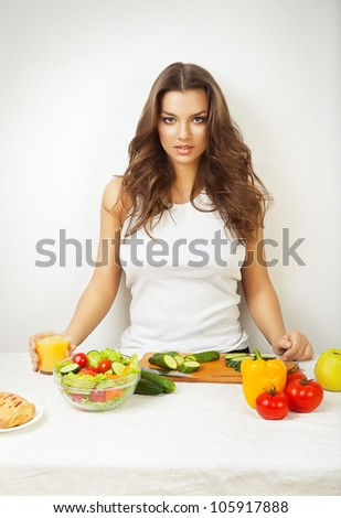 sexy woman on kitchen with juice - stock photo