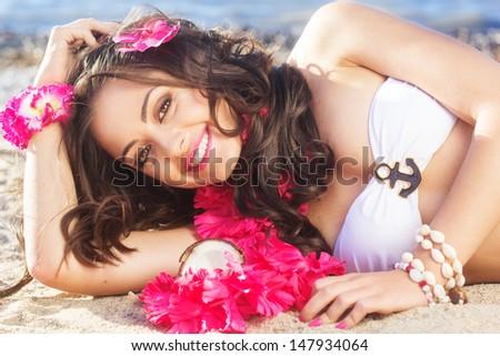 sexy woman on the beach - stock photo