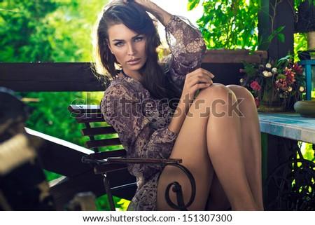 Sexy woman outdoor - stock photo