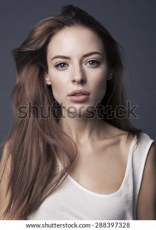 Sexy  woman posing in studio - stock photo