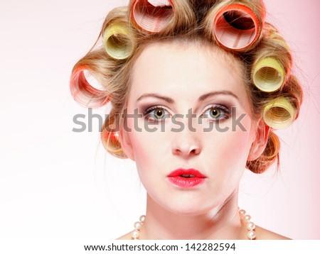 Women nude on Golden hair curling