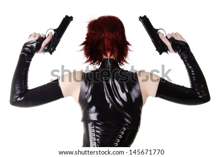 Sexy woman ready to shoot, isolated on a white background. - stock photo