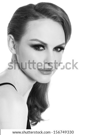 sexy woman's face in black and white