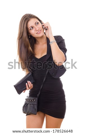 sexy woman talking on the phone in black dress