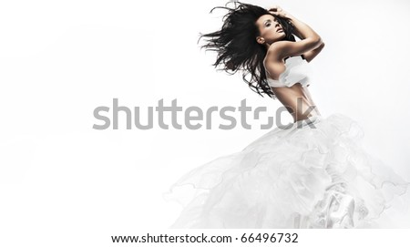 Sexy woman wearing white dress - stock photo