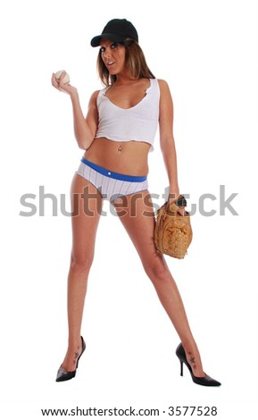 Sexy woman with baseball and glove - stock photo