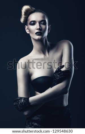 sexy woman with black lips - stock photo