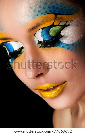 sexy woman with creative face art