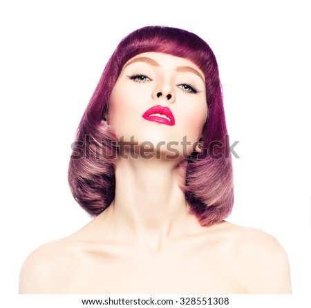 Sexy Woman with Fashion Bob Hairstyle. Coloring Hair.  - stock photo