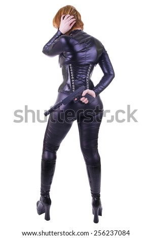 Sexy woman with gun. - stock photo