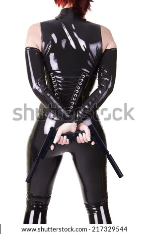 Sexy woman with guns. - stock photo