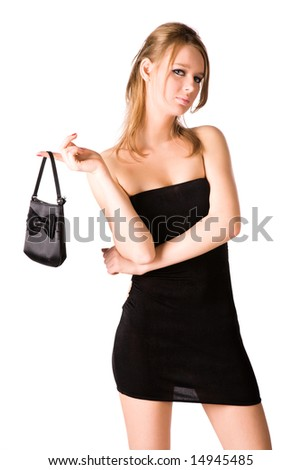 Sexy woman with handbag. Isolated on white. - stock photo