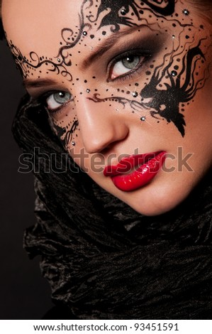 sexy woman with mask on face