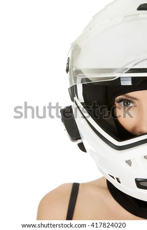 Sexy woman with motorcycle helmet. - stock photo