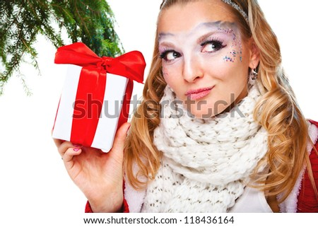sexy woman with present wrapped in white paper, isolated on white - stock photo