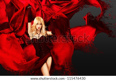 Sexy Woman with Splashing Red Silk - stock photo