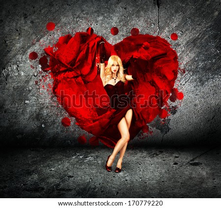 Sexy Woman with Splashing Silk Heart. Beautiful Love Concept for St. Valentine's Day.
